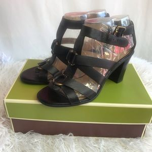 NIB Naturalizer Black Disco Leather Block Heels